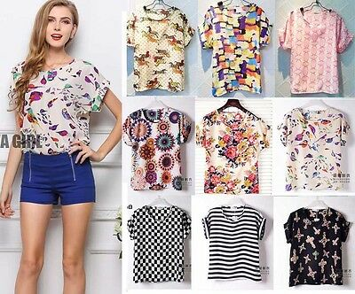 Summer Womens Girl Prints Batwing Short Sleeve Loose Chiffon Blouse T Shirt SML