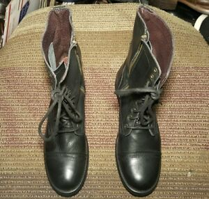 bc8eff622c3 Details about STEVE MADDEN WOMEN COMBAT BOOTS US 11 M TO 12 M BLACK LEATHER  MADE IN MEXICO.