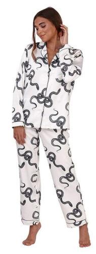 Womens Satin PyjamasLong Sleeve Silk NightwearAnimal Print Ladies PjsUK