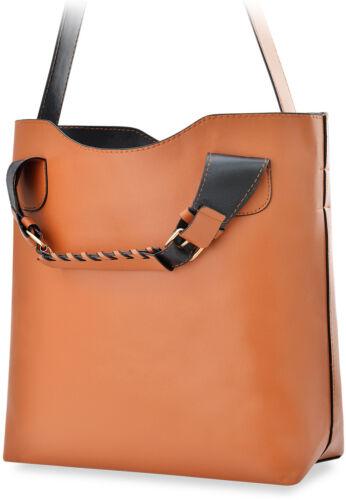 Shopperbag Damentasche 2 in 1 mit Kosmetiktasche Damen Handtasche braun