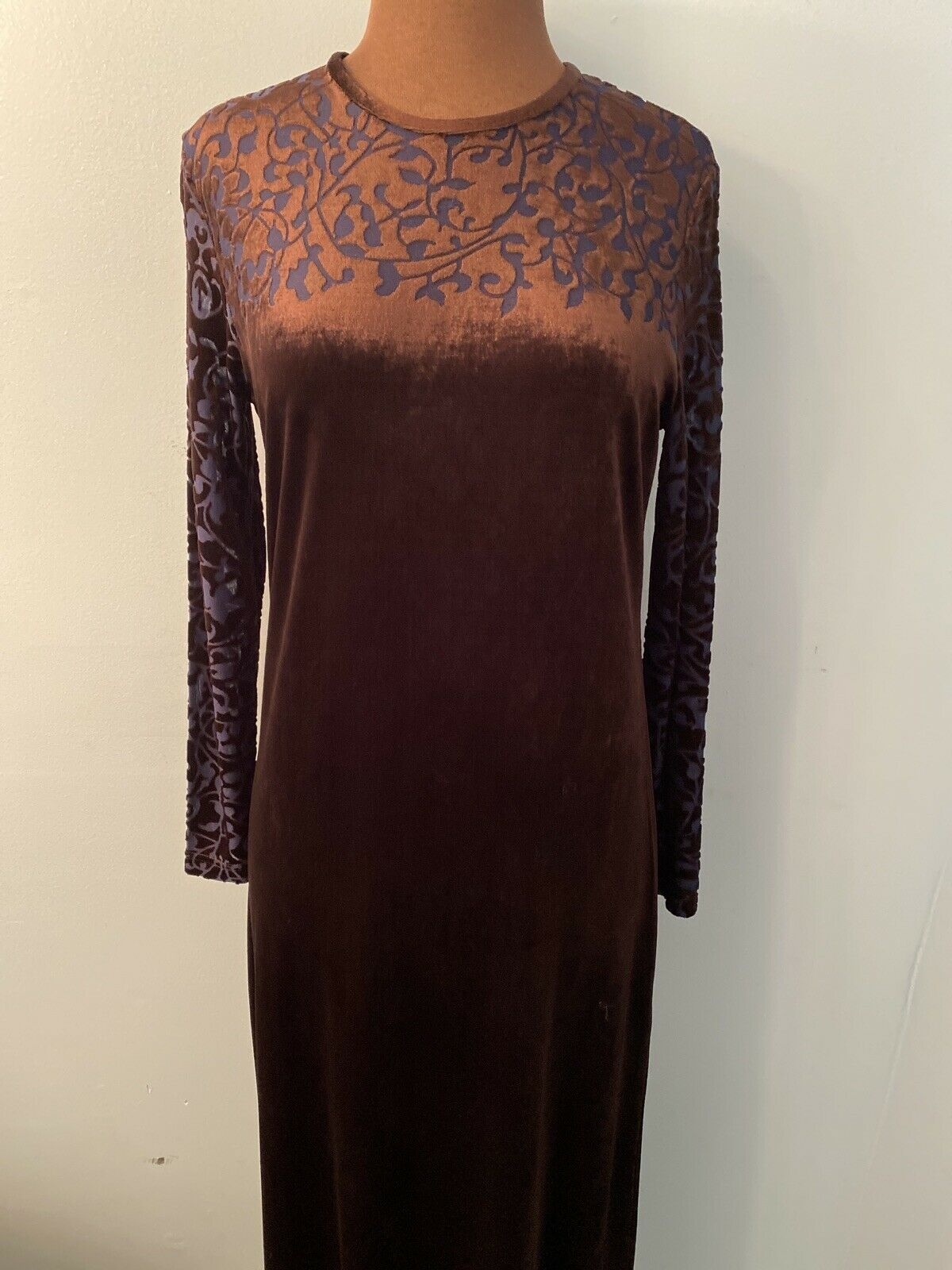 LIZ CLAIBORNE Women Sz M Brown Velvet Formal Sheer Blue CutOut Sleeves/Neck EUC