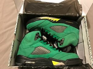 the best attitude db41c 2c16c Details about NIKE AIR JORDAN 5 OREGON DUCKS 🦆PE APPLE GREEN SZ 10 SUPER  MINT BNIB 💯