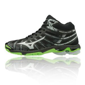 MIZUNO-homme-wave-tension-Mi-Cour-Chaussures-Noir-Vert-Sport-Respirant