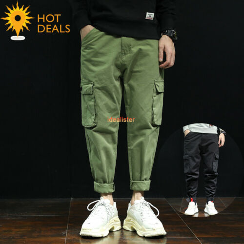 Men/'s Outdoor Patchwork Casual Cargo Loose Work Pants Tactical Baggy Slacks New