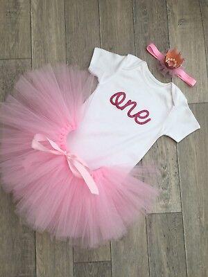 Pink//White Glitter.Tiara//crown Prop. Baby Girls 1st Birthday Cake Smash Outfit