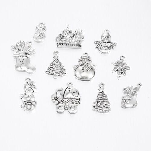 Mixed Christmas Charms Tibetan Silver Christmas Jewellery Xmas Charms Mixed