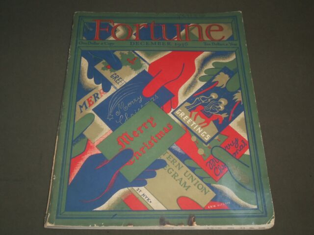 1936 DECEMBER FORTUNE MAGAZINE - GREAT COVER & ADS - F 85A