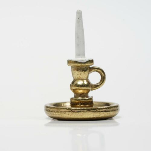 1:12 Dollhouse Miniature Candlestick White Candle Golden Base
