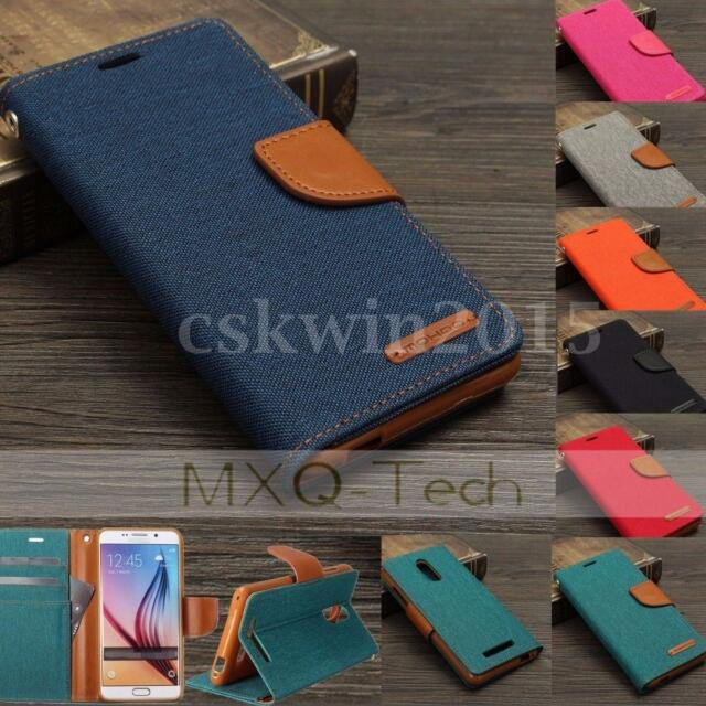 MOHOO Hybrid Denim Jean Flip Leather Wallet Card Slot Soft TPU Stand Case Cover