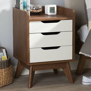 Image Is Loading Mid Century 3 Drawer Storage Nightstand White And