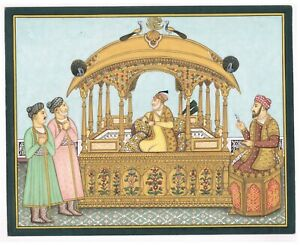 Indian-Miniature-Painting-Of-Mughal-Empire-Real-Gold-And-Gouache-Work-On-Paper