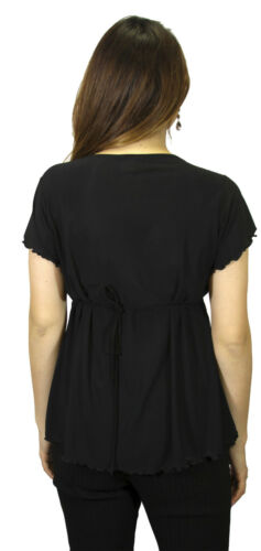 Solid Black Deep Neck Maternity Short Sleeve Casual Babyshower Elegant