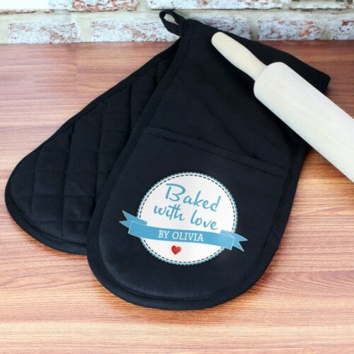 Personalised Oven Gloves Baked With Love Black Baker Cook Gift
