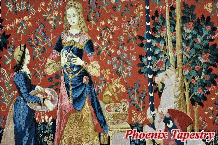 105 x 139 Wandteppich Wandbehang Wandbehang Wandbehang  DIE DAME MIT DEM EINHORN - der Geruch   Schönes Aussehen  90cc8f
