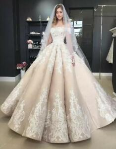 f833b69fca7 Image is loading Luxury-Ball-Wedding-Dress-Champagne-Lace-Applique-Off-