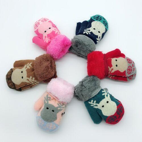Christmas Fashion Toddler Baby Winter Cartoon Deer Velvet Knitted Mittens Gloves