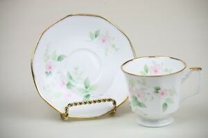 Tea-Cup-and-Saucer-Set-Pink-Pastel-Flowers-Green-Leaves-Gold-Trim-Regal-Heritage