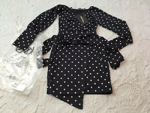 b5c3326b6fcd6a PrettyLittleThing wrap front mini dress in navy polka dot US Size 4 ...