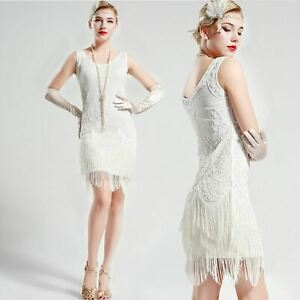 US-STOCK-Gatsby-vintage-unique-White-Wedding-Beaded-1920s-Flapper-Dress