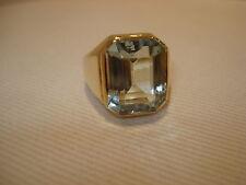 Schöner Ring 585 Gold Großer Aquamarin Anello Or Oro 14K Aigue Marine ca. 12,1 g