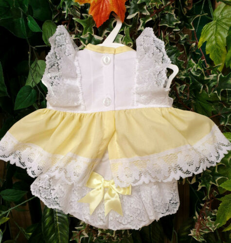 DREAM 0-5 YEARS BABY SUMMER LEMON  BOWS TOP AND  KNICKERS SET  OR REBORN DOLLS