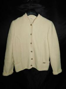 Eisbar-Austria-Size-46-L-Ecru-Ivory-Beige-Wool-Jacket-Button-Front-Cardigan-Coat