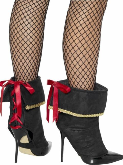 Pirate Boot Covers, Adult Fancy Dress Costumes, BLACK