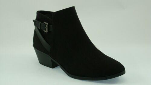 Women/'ss Ankle Dress Boots Black Suede T144 Cuban heel