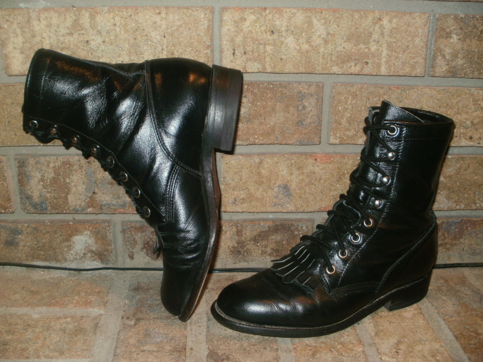 Justin Black Leather Lacer Boot Lady 5.5 C (Wide)/ L0506 Nice