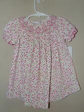 Vive La Fete 12M Smocked Bishop Dress Pink Floral Corduory Easter Spring Boutiqu