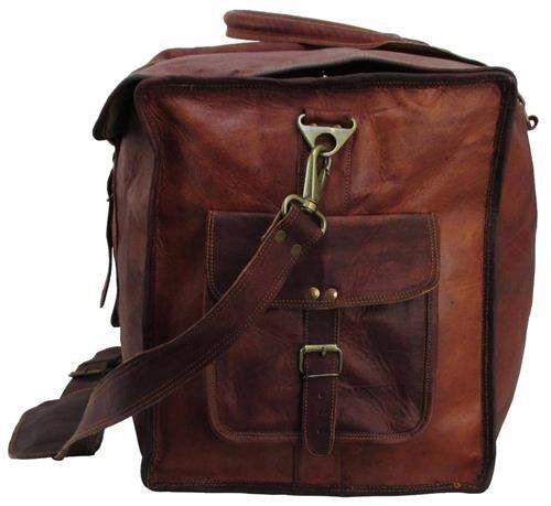 """24/""""x10x10 Mens Vintage Genuine Leather Flap Duffel Carry On Weekender Travel Bag"""
