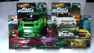 HOT-WHEELS-ORIGINAL-FAST-amp-FURIOUS-5-SET-ECLIPSE-JETTA-MAZDA-NISSAN-ETC-NEW