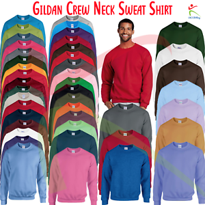 GILDAN-Heavy-Blend-GIROCOLLO-MEN-039-S-Plain-Felpa-Maglione-Morbido-Jersey-S-5XL