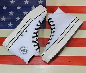 CONVERSE-Chuck-Taylor-ALL-STAR-HI-Lift-Platform-Leather-White-558973C-Wmns-9-5