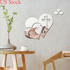 US 3D Love Hearts Mirror Wall Sticker DIY Home Room Mural Decor Removable Decal