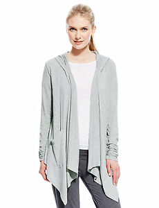Marks & Spencer Womens Hooded Waterfall Cardigan New Grey M&S ...