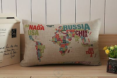 Novelty Words World Map Pattern home decorative cushion cover oblong pillow case