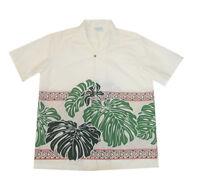 Men Cream Fern Green Leaf Laua Cotton Blended Hawaiian Shirt-s,m,l,xl,2x,3x,4x