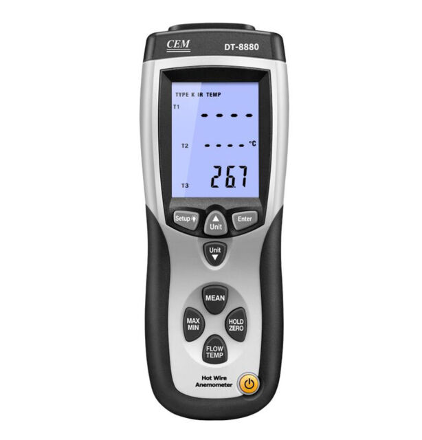 Details about  /Hot Wire Thermo-Anemometer Temperature Tester DT-8880 Air Flow Velocity Meter