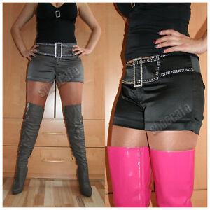 melrose-Hot-Pants-Shorts-Satin-schwarz-oder-silbergrau-Stretch