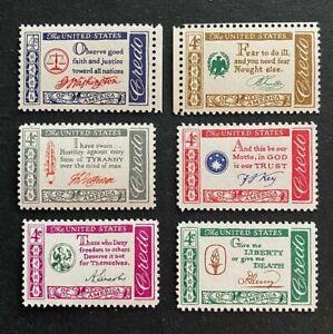 US Stamps, Scott #1139 Thru #1144 American Credo Set 1960 4 C très fine/XF pour XF M/jamais à charnière
