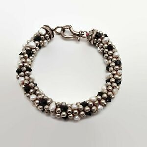 Sterling-Silver-Freshwater-Pearl-amp-Glass-Bead-Bracelet