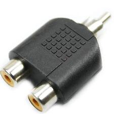 1 rca mâle vers 2 rca femelles audio y splitter plug m/f adaptateur connecteur