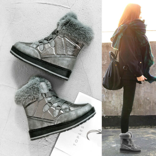 Womens New Arrival Winter Boots Cotton-padded Fur Low Heels Lace Up Stylish D69