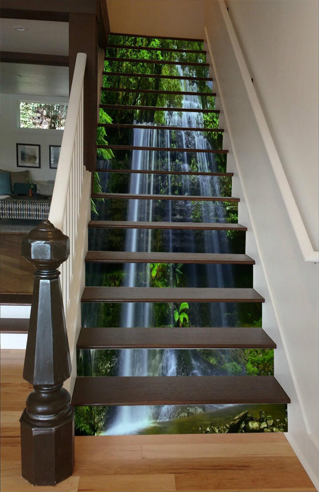 3D Wasser Vorhang 2 Stair Risers Dekoration Fototapete Vinyl Aufkleber Tapete DE