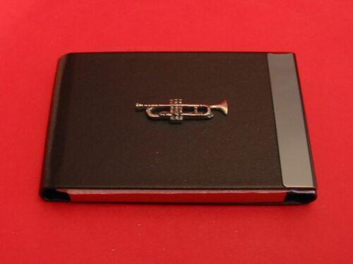 Trumpet Pewter Motif on Black PU Leather Card Holder Teacher Musician Gift