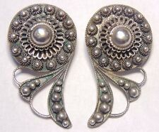 Vintage Estate Made in Siam Sterling Silver 925 Bali Style Clip On Earrings