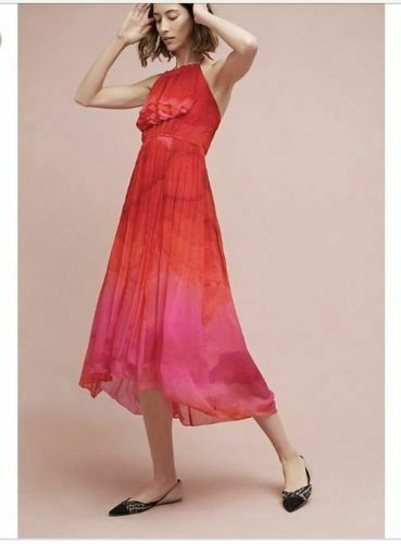 Anthropologie Cascade Halter Dress Size 0 by TRACY Reese Red Pink NEW