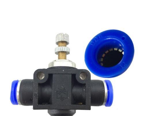 """2pc 6 mm de la válvula de control de velocidad de flujo de aire tubo OD 1//4/"""" pulgadas neumáticos Empuje Montaje"""