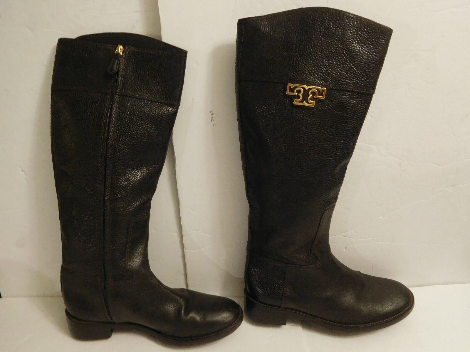 B-30 WOMEN Tory Burch Joanna Tall Riding Boots Brown Leather T Logo Sz 9 M